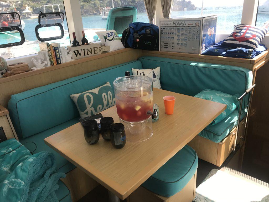 Luxurious Salon on our Catamaran Yacht Sail Tours St Thomas
